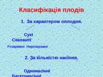 Класифікація плодів За характером оплодня. Сухі Соковиті Розкривні Нерозкривн...