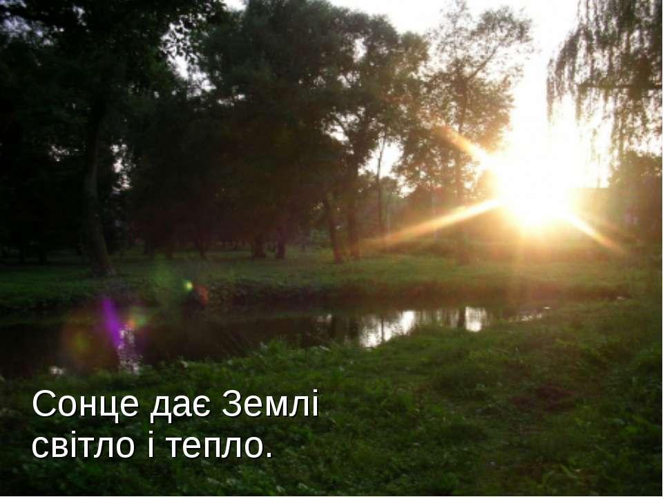 Сонце дає Землі світло і тепло.
