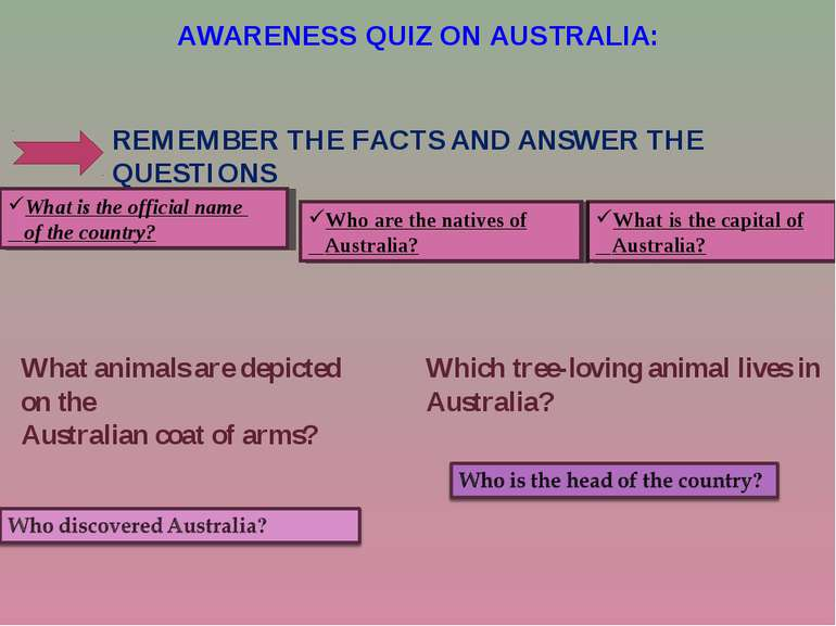 AWARENESS QUIZ ON AUSTRALIA: Which tree-loving animal lives in Australia? REM...