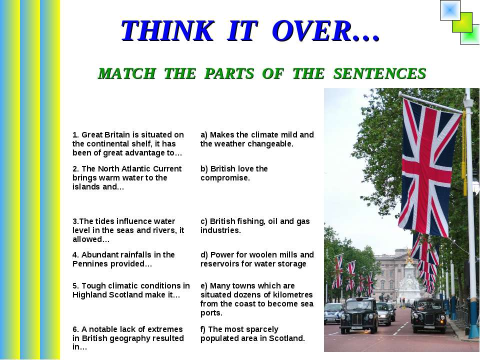 THINK IT OVER… MATCH THE PARTS OF THE SENTENCES 1. Great Britain is situated ...