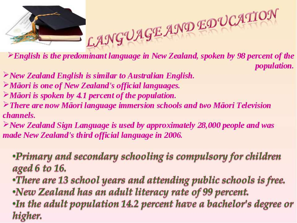 English is the predominant language in New Zealand, spoken by 98 percent of t...