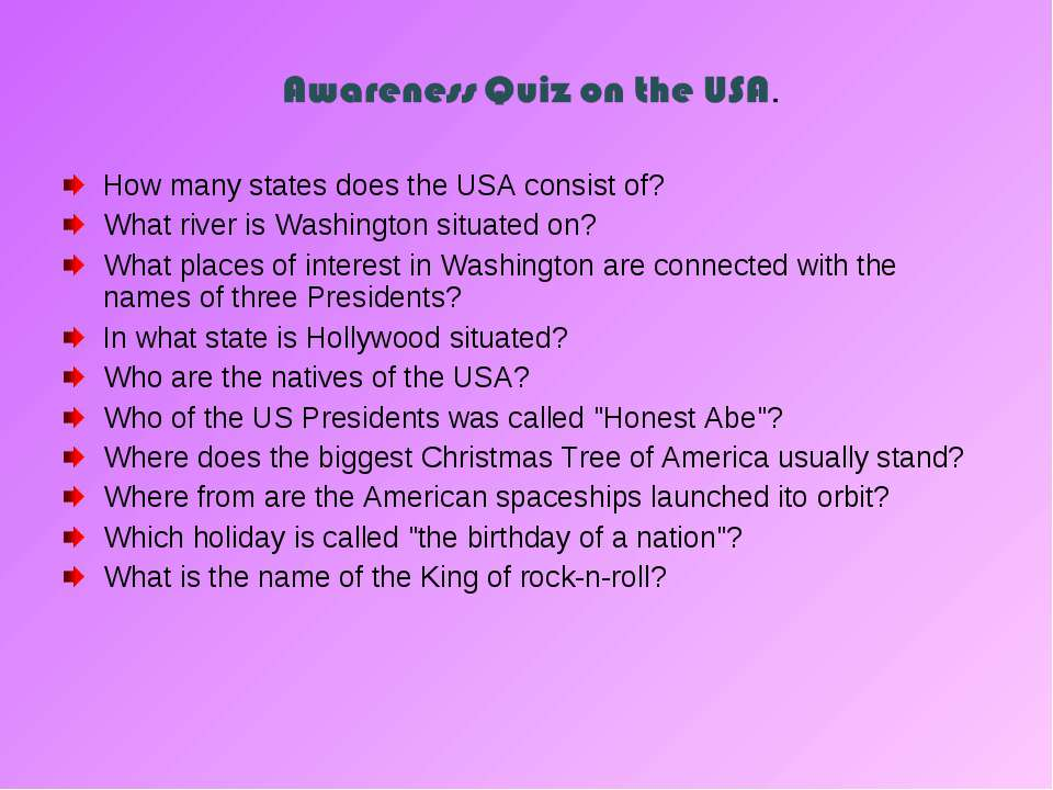How many states does the USA consist of? What river is Washington situated on...