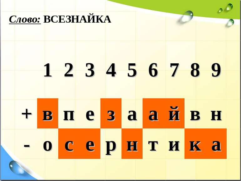 Слово: ВСЕЗНАЙКА 1 2 3 4 5 6 7 8 9 + в п е з а а й в н - о с е р н т и к а