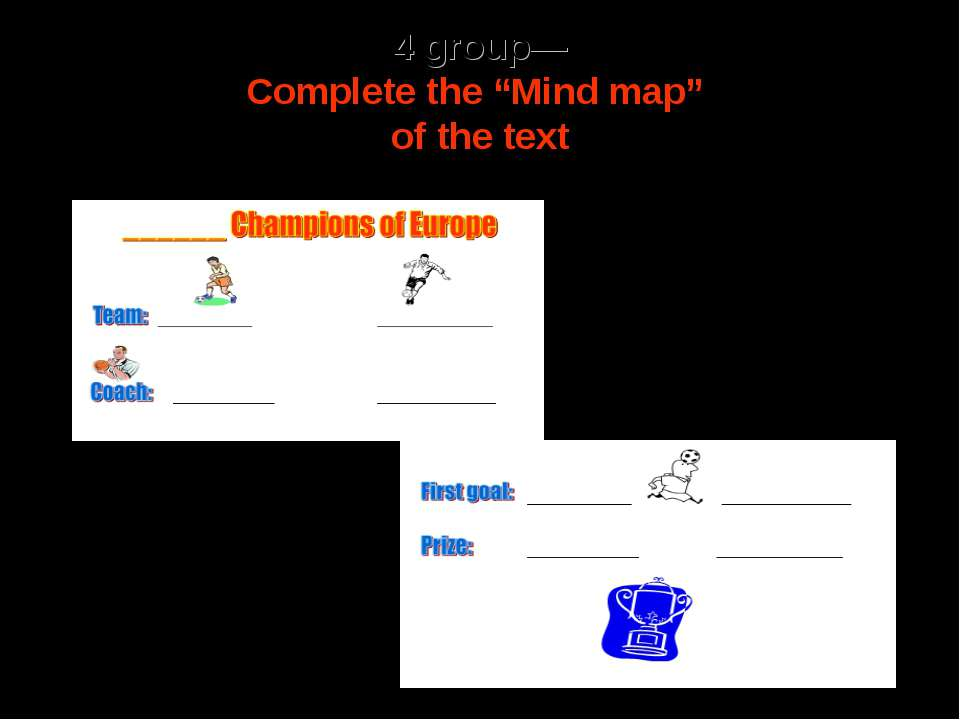 "4 group— Complete the ""Mind map"" of the text"