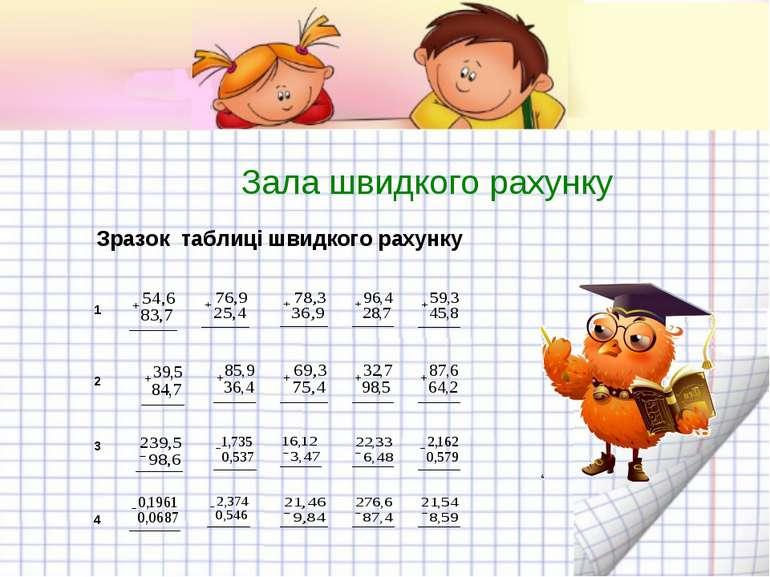 Зала швидкого рахунку 1 2 3 4 Зразок таблиці швидкого рахунку