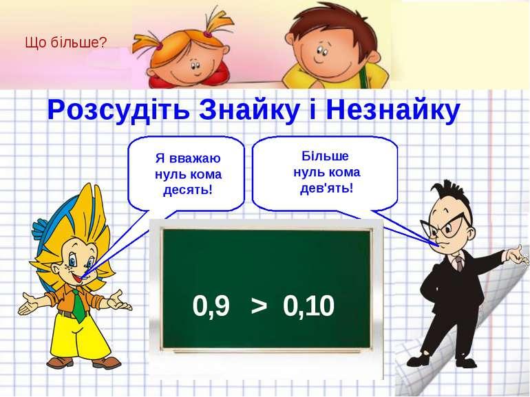 0,9 > 0,10 Що більше? Розсудіть Знайку і Незнайку