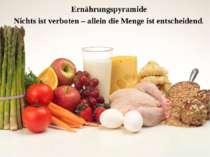Ernährungspyramide Nichts ist verboten – allein die Menge ist entscheidend.