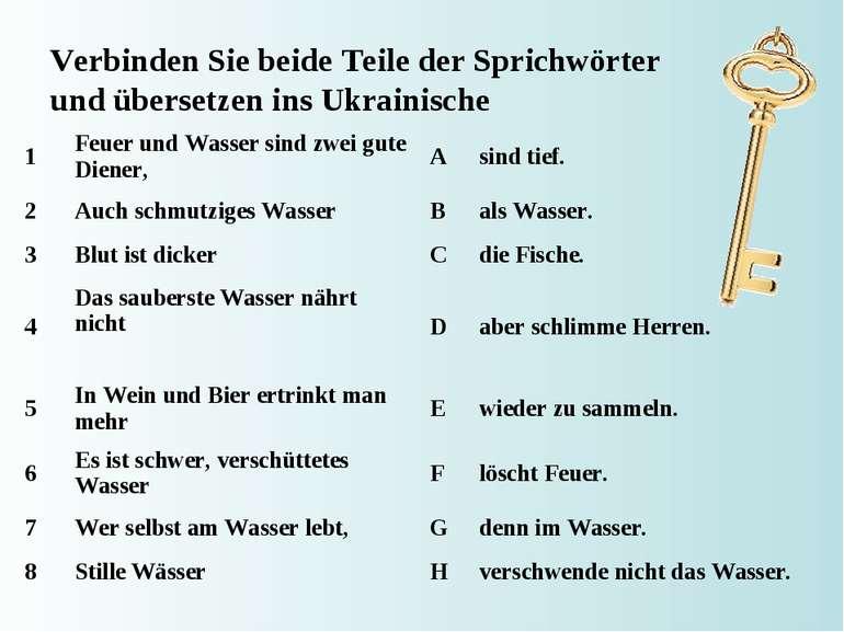 Verbinden Sie beide Teile der Sprichwörter und übersetzen ins Ukrainische