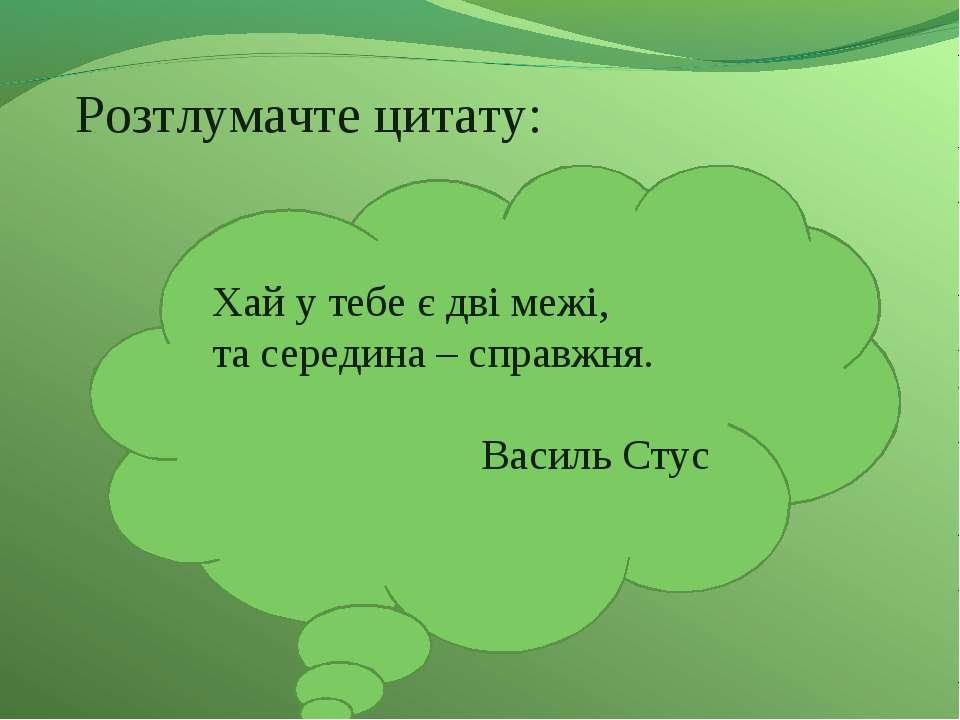 Розтлумачте цитату: Хай у тебе є дві межі, та середина – справжня. Василь Стус