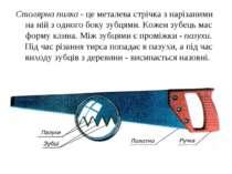 Столярна пилка - це металева стрічка з нарізаними на ній з одного боку зубцям...
