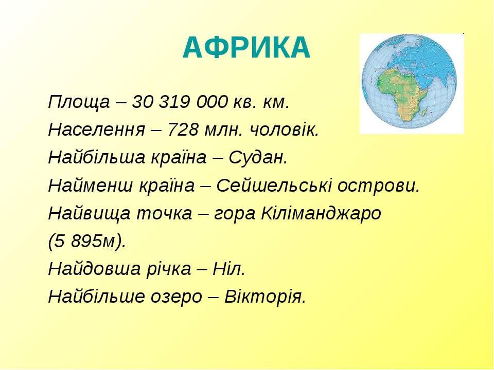 АФРИКА Площа – 30 319 000 кв. км. Населення – 728 млн. чоловік. Найбільша кра...