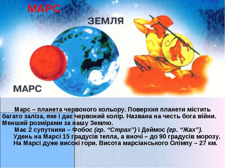 МАРС Марс – планета червоного кольору. Поверхня планети містить багато заліза...