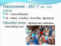 Населення : 457,7 тис. чол. (2004) 67 – люксембуржці 34 – німці , італійці , ...