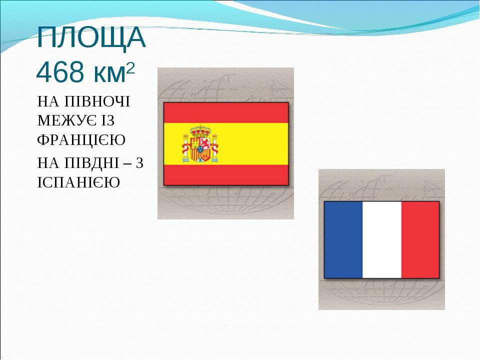 ПЛОЩА 468 км2 НА ПІВНОЧІ МЕЖУЄ ІЗ ФРАНЦІЄЮ НА ПІВДНІ – З ІСПАНІЄЮ