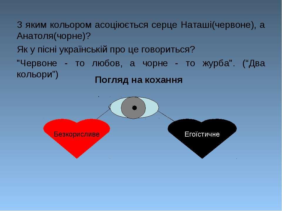 З яким кольором асоціюється серце Наташі(червоне), а Анатоля(чорне)? Як у піс...