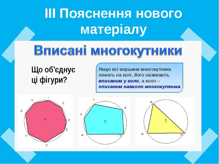 ІІІ Пояснення нового матеріалу Що об'єднує ці фігури?