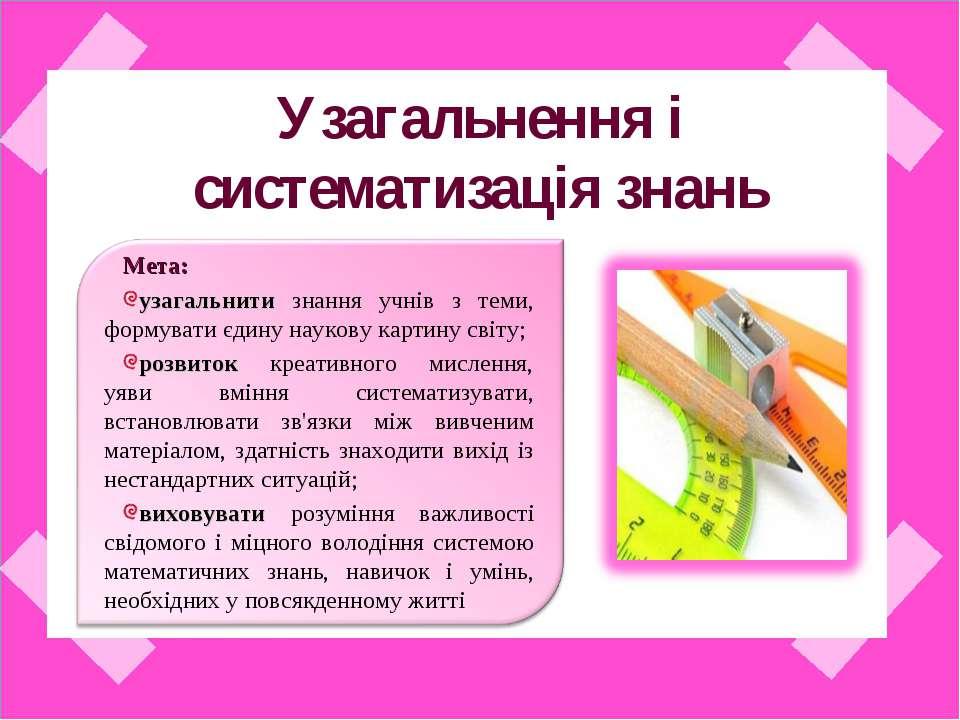 Узагальнення і систематизація знань Мета: узагальнити знання учнів з теми, фо...