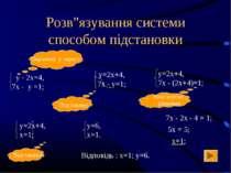 """Розв""""язування системи способом підстановки 7х - 2х - 4 = 1; 5х = 5; х=1; Відп..."""