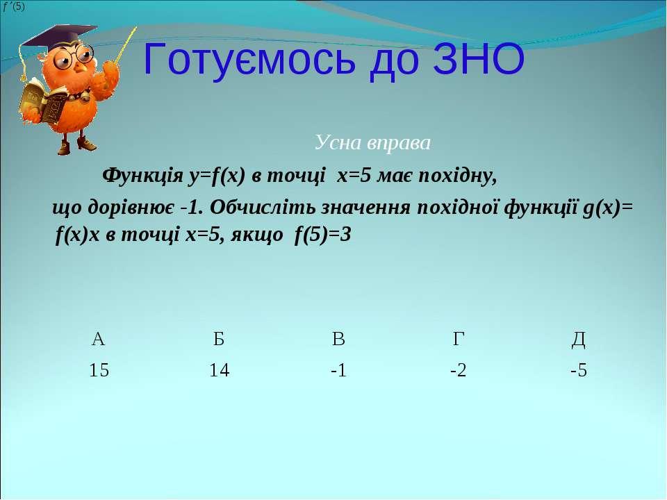 Готуємось до ЗНО Усна вправа Функція y=f(x) в точці x=5 має похідну, що дорів...