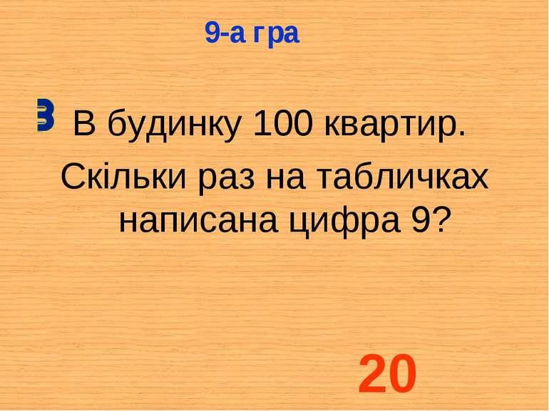 В будинку 100 квартир. Скільки раз на табличках написана цифра 9? 9-а гра 20