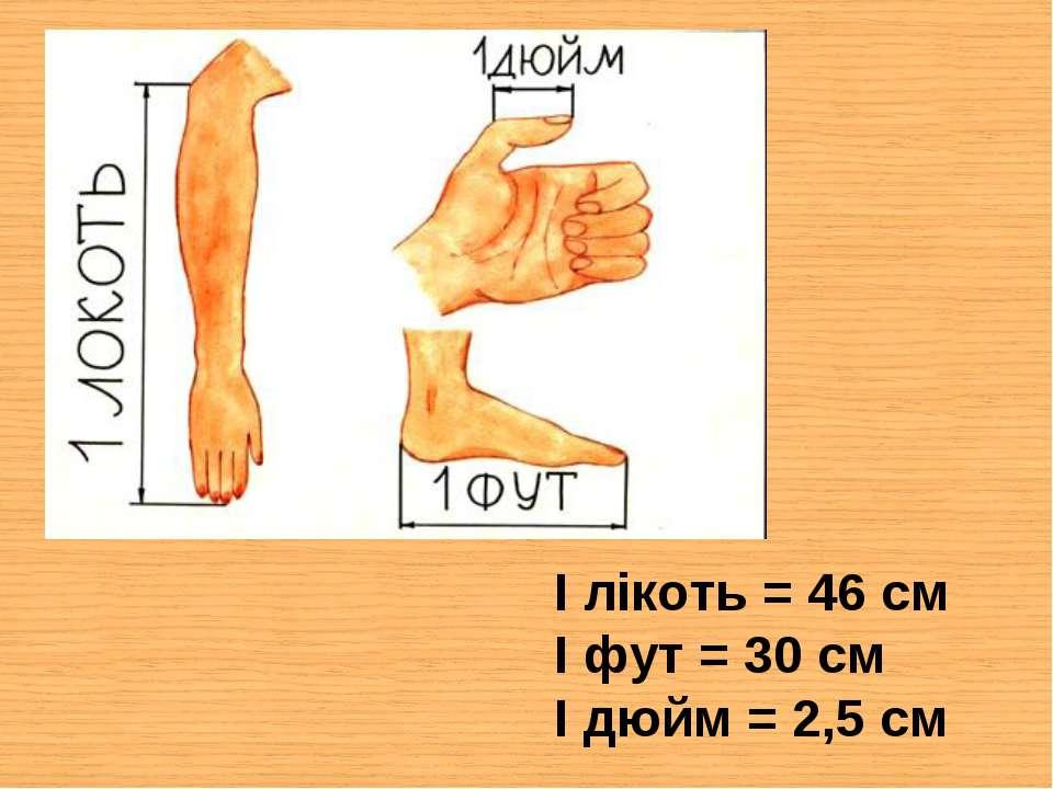I лікоть = 46 см I фут = 30 см I дюйм = 2,5 см