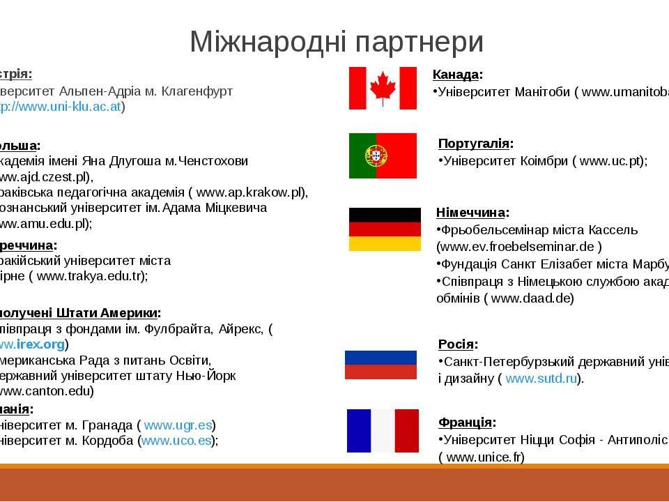 Міжнародні партнери Австрія: Університет Альпен-Адріа м. Клагенфурт (http://w...