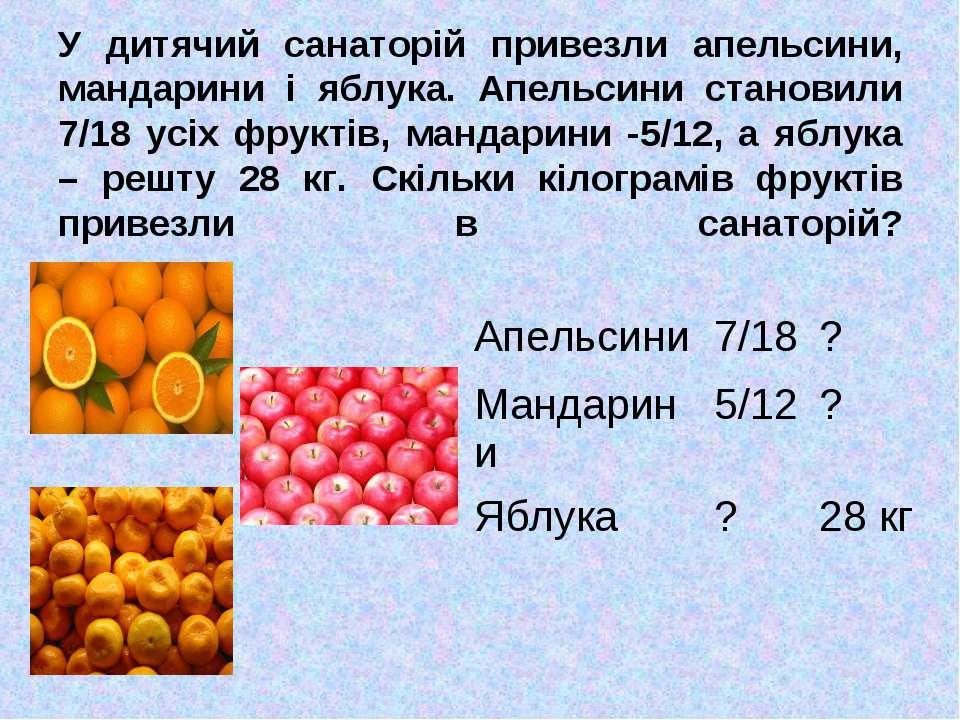 У дитячий санаторій привезли апельсини, мандарини і яблука. Апельсини станови...