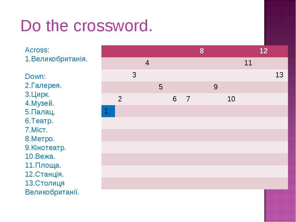 Do the crossword. Across: 1.Великобританія. Down: 2.Галерея. 3.Цирк. 4.Музей....