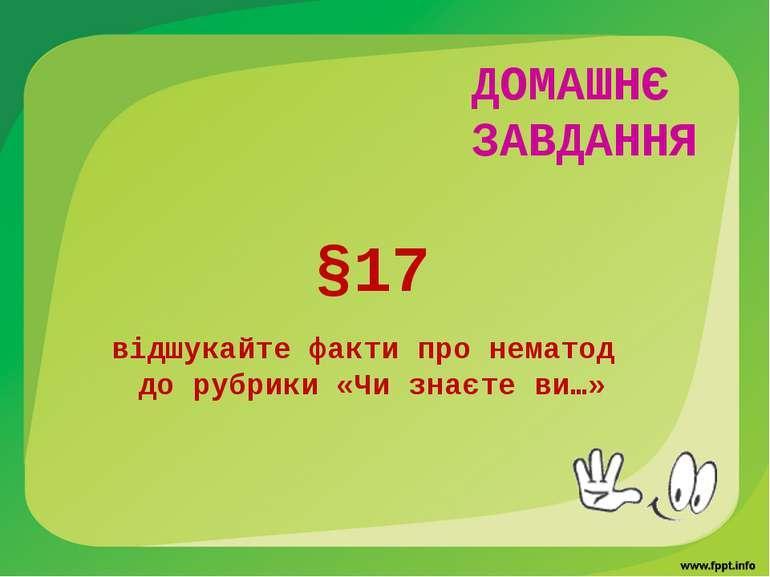 ДОМАШНЄ ЗАВДАННЯ §17 відшукайте факти про нематод до рубрики «Чи знаєте ви…»