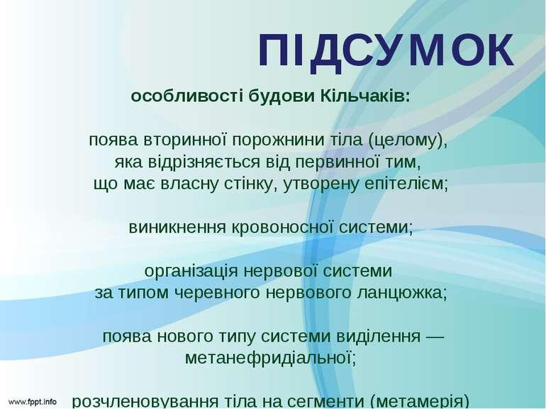 особливості будови Кільчаків: поява вторинної порожнини тіла (целому), яка ві...