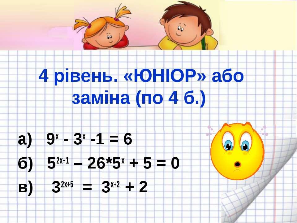 4 рівень. «ЮНІОР» або заміна (по 4 б.) а) 9х - 3х -1 = 6 б) 52х+1 – 26*5х + 5...