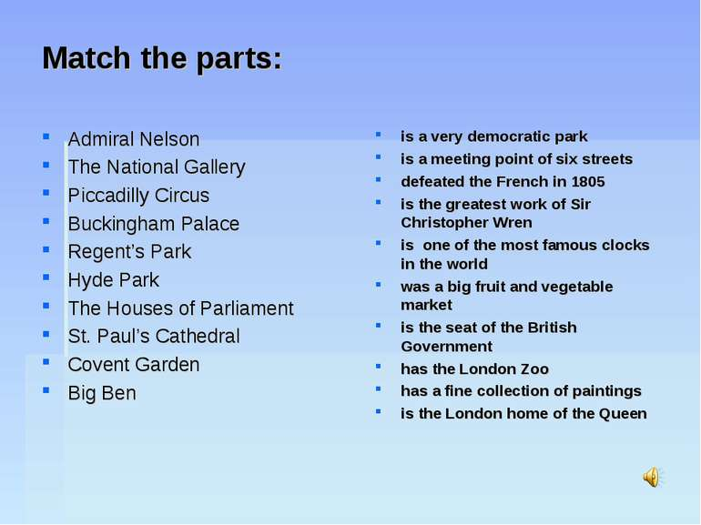 Match the parts: Admiral Nelson The National Gallery Piccadilly Circus Buckin...