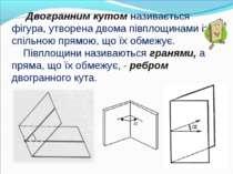 Двогранним кутом називається фігура, утворена двома півплощинами із спільною ...