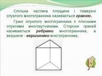 Спільна частина площини і поверхні опуклого многогранника називається гранню....