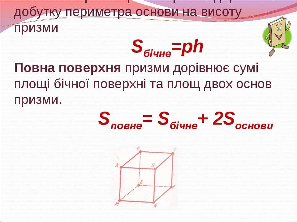Бічна поверхня прямої призми дорівнює добутку периметра основи на висоту приз...