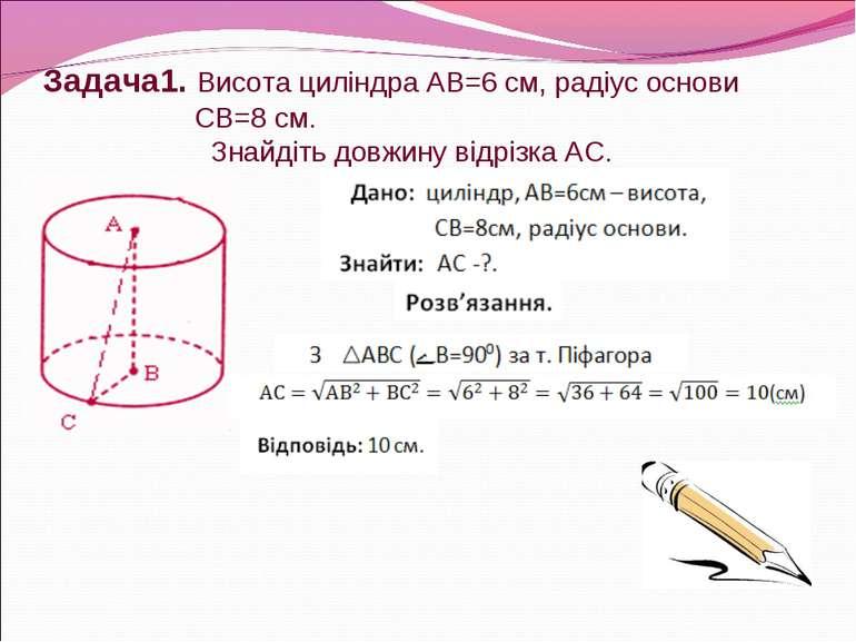 Задача1. Висота циліндра АВ=6 см, радіус основи СВ=8 см. Знайдіть довжину від...
