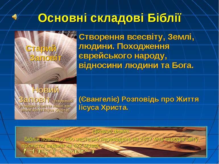 Основні складові Біблії Цікавий факт: Біблія повністю або частично переведена...