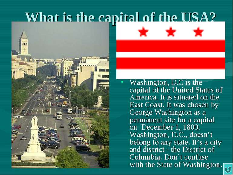 What is the capital of the USA? Washington, D.C is the capital of the United ...