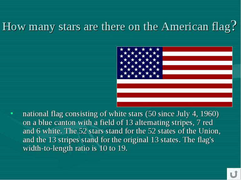 national flag consisting of white stars (50 since July 4, 1960) on a blue can...