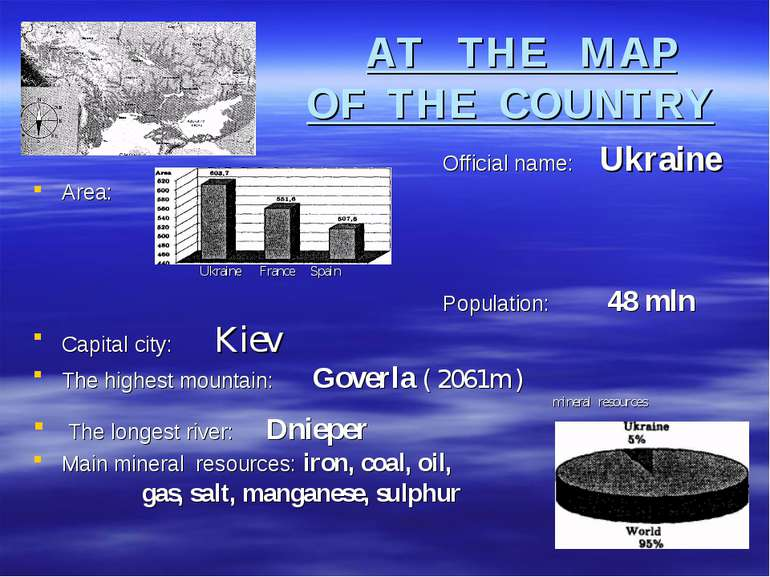 AT THE MAP OF THE COUNTRY Official name: Ukraine Area: Ukraine France Spain P...