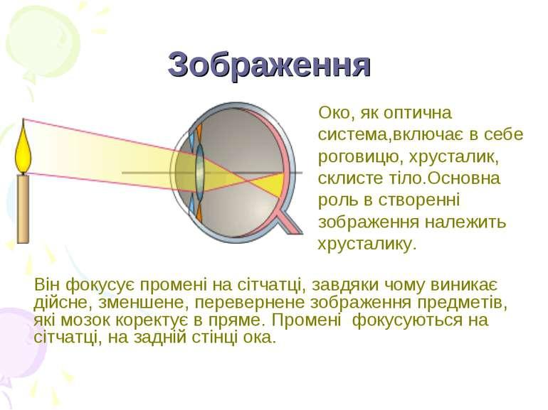 Зображення Він фокусує промені на сітчатці, завдяки чому виникає дійсне, змен...