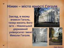 Ніжин – місто юності Гоголя Заклад, в якому вчився Гоголь, тепер носить його ...