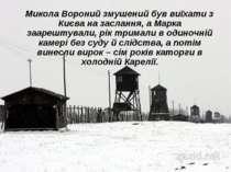 Микола Вороний змушений був виїхати з Києва на заслання, а Марка заарештували...