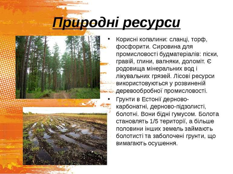 Природні ресурси Корисні копалини: сланці, торф, фосфорити. Сировина для пром...