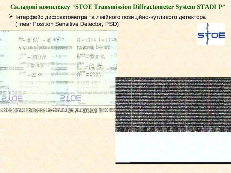 "Складові комплексу ""STOE Transmission Diffractometer System STADI P"" Інтерфей..."