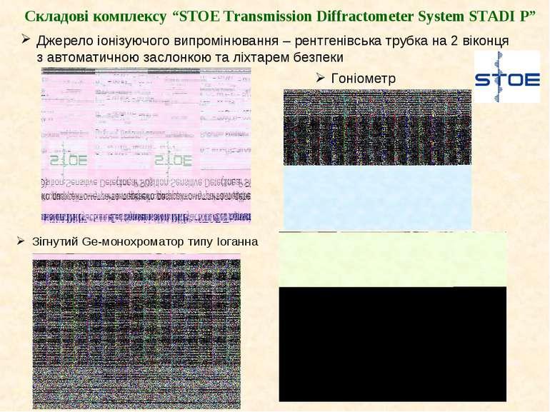 "Складові комплексу ""STOE Transmission Diffractometer System STADI P"" Джерело ..."