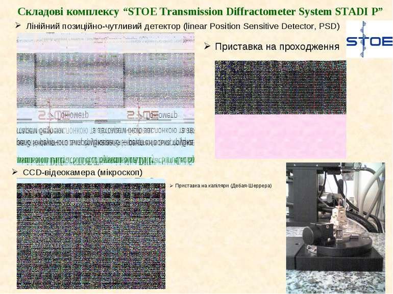 """Складові комплексу """"STOE Transmission Diffractometer System STADI P"""" Лінійний..."""