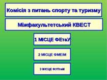 Комісія з питань спорту та туризму Міжфакультетський КВЕСТ 1 МІСЦЕ ФЕтаУ 3 МІ...