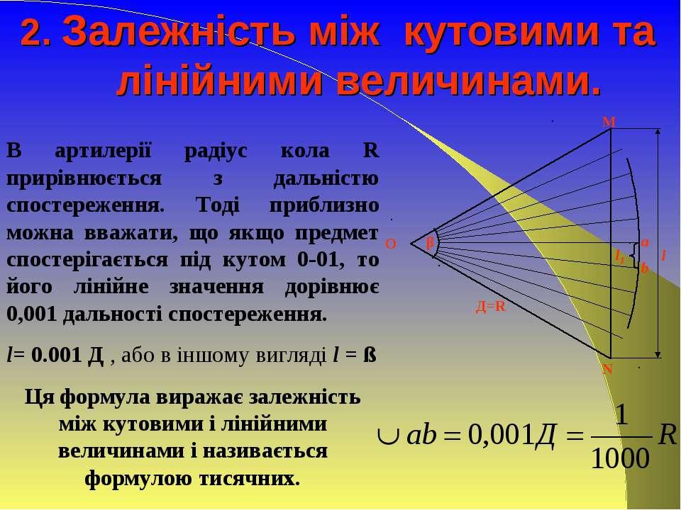 2. Залежність між кутовими та лінійними величинами. В артилерії радіус кола R...