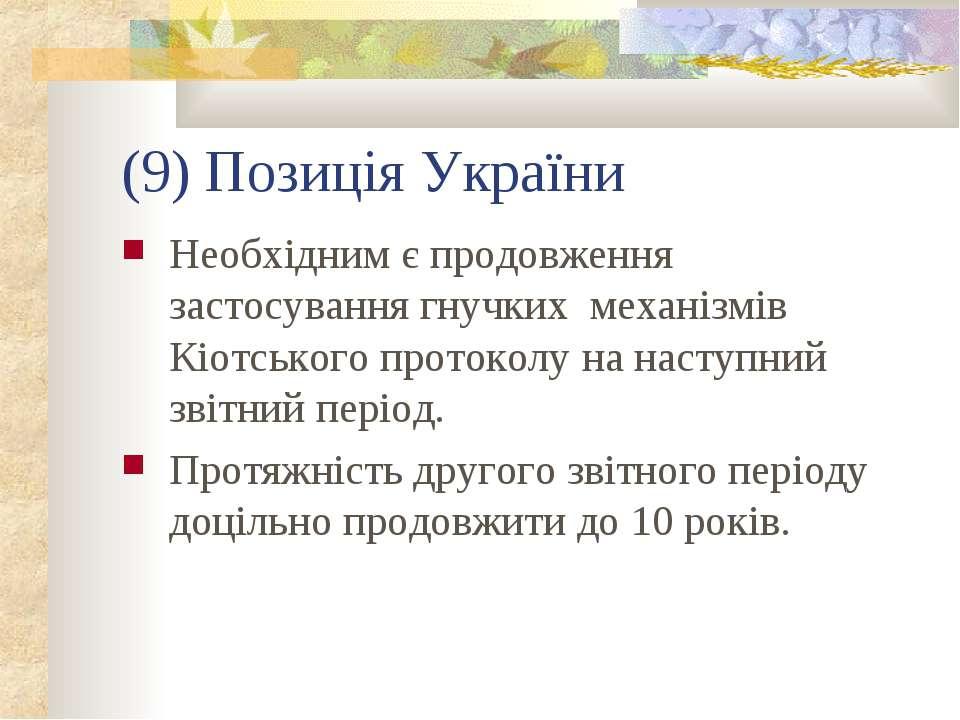 (9) Позиція України Необхідним є продовження застосування гнучких механізмів ...